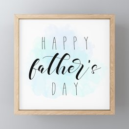 Happy Father's Day - Blue Paint Framed Mini Art Print