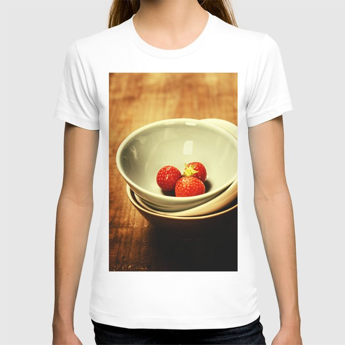 Strawberries in a Bowl on wooden background T-shirt