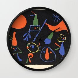 Personnages on Black Ground by Joan Miró Wall Clock