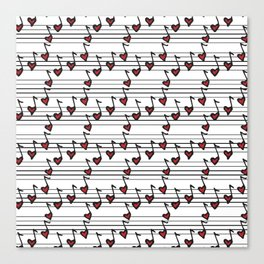 pattern with notes like hearts Canvas Print