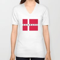 denmark V-neck T-shirts featuring denmark country flag danmark name text by tony tudor