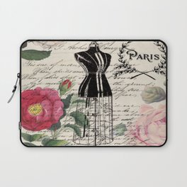 french country rose floral modern vintage dress mannequin paris fashion Laptop Sleeve