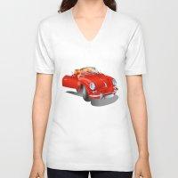porsche V-neck T-shirts featuring Porsche by Paola Canti