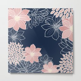 Floral Prints and Line Art, Navy Blue and Pink Metal Print