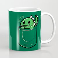 pocket Mugs featuring Pocket Godzilla by fishbiscuit