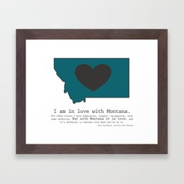 """I am in love with Montana"" - teal Framed Art Print"