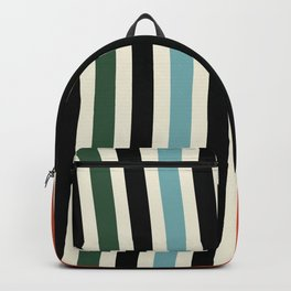 Raincore - Mid Century Modern Rainbow Retro Lines Abstract Pattern - Blue Yellow Green Red Black Backpack
