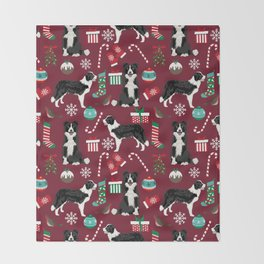 Border Collie christmas stockings presents holiday candy canes dog breed pattern Throw Blanket