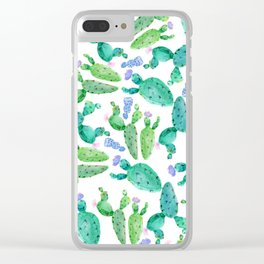 Watercolor hand painted violet green cactus floral Clear iPhone Case
