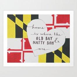 Old Bay & Natty Boh - Baltimore, Maryland print Art Print