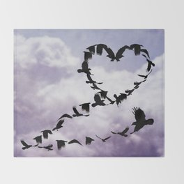 Heart of Crows Black Bird Raven Blue A276 Throw Blanket