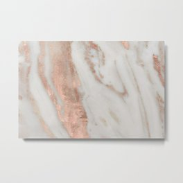 Marble Rose Gold Shimmery Marble Metal Print