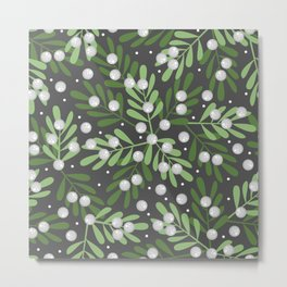 Mistletoe & Snow Metal Print