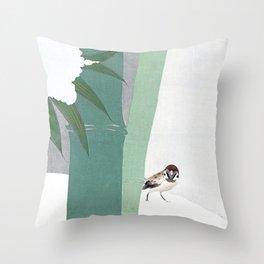 Bamboo in snow Throw Pillow