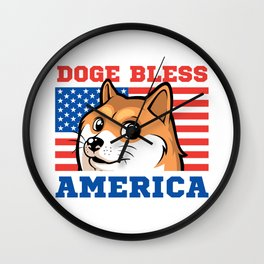 Doge Bless America Wall Clock