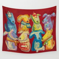 dogs Wall Tapestries featuring Dogs by Catru