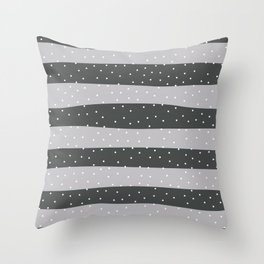 Christmas Simple seamless pattern Snow confetti on Grey Silver and Red Stripes Background Throw Pillow