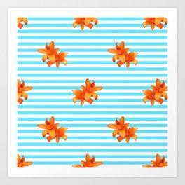 Summer Flower Stripes Art Print