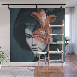Red Flowers/Lady Portrait Wall Mural
