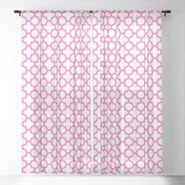 Hot Pink Quatrefoil Pattern Sheer Curtain