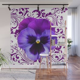 LILAC PURPLE PANSY SPRING FLORAL PATTERN Wall Mural