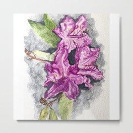 Moody Summer Floral Watercolour Metal Print