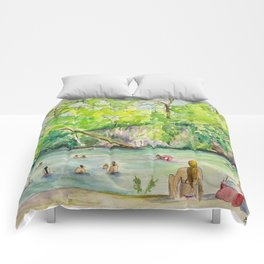 Krause Springs - historic Texas natural springs swimming hole Comforters