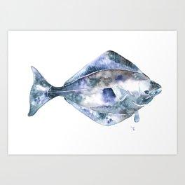 Flat Fish Watercolor Art Print