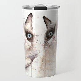 Grumpy Watercolor Cats Travel Mug