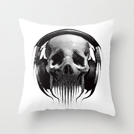 Alien Skull Listening to Music on Pro Beats Throw Pillow