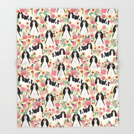 Cavalier King Charles Spaniel floral flowers dog breed pattern dogs Throw Blanket