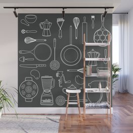 kitchen tools (white on black) Wall Mural