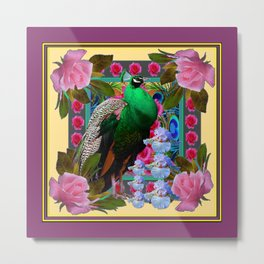 YELLOW-PUCE  PURPLE & PINK ROSES GREEN PEACOCK FLORAL Metal Print