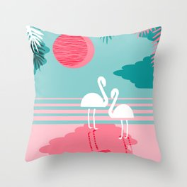 Chill Vibes - memphis retro throwback 1980s 80s neon pop art flamingo paradise socal vacation Throw Pillow