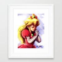 princess peach Framed Art Prints featuring Princess Peach by markclarkii