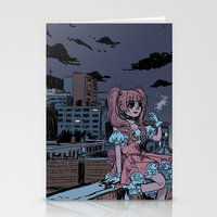 magical girl Stationery Cards featuring MONTREAL MAGICAL GIRL by Natalie Nardozza
