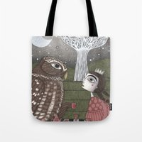 once upon a  time Tote Bags featuring Once Upon a Time by Judith Clay