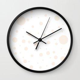 Mixed Polka Dots - Linen on White Wall Clock
