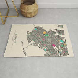 Colorful City Maps: Brooklyn, New York Rug