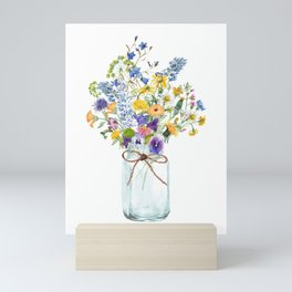 Colorful Hand Painted Watercolor Summer Wildflowers Bouquet In A Vase Mini Art Print