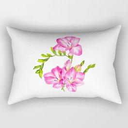 Pink Freesia Watercolour Illustration Rectangular Pillow