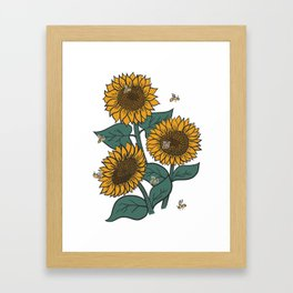 Sunflowers + Bees Framed Art Print