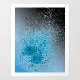 Blue and Black Spray Paint Splatter Art Print