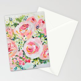 Cottage chic pink peony bouquet Stationery Cards