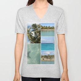 Caribbean Travel Vacation Photo Collage Unisex V-Neck