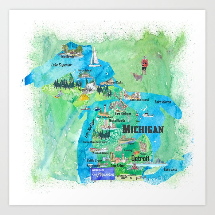 Michigan USA State Illustrated Travel Poster Favorite Tourist Map Art Print  by artshop77