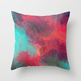 Passionate Firestorm Abstract Painting Throw Pillow