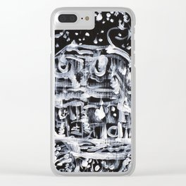 TURTLE WALKING UNDER A STARRY SKY Clear iPhone Case