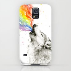 Wolf Rainbow Watercolor Howling Animal Whimsical Animals Galaxy S5 Slim Case