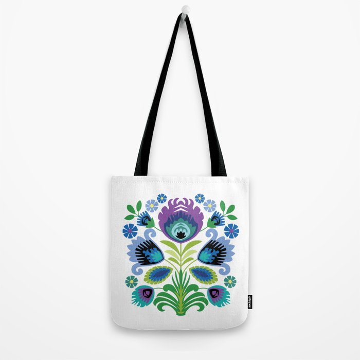 Polish Folk Flowers Purple Tote Bag
